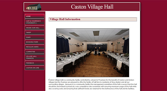 Caston Village Hall - Caston Web Designs Portfolio
