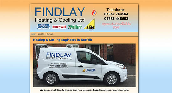 Caston Web Designs - Findlay Heating front page