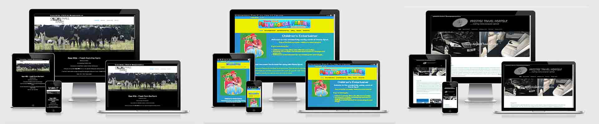 Websites designs on different sized screens