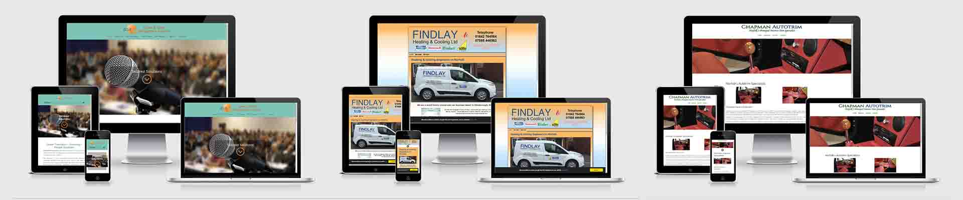 Websites designs created by Norfolk Web Designers on different sized screens