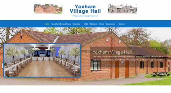 Home page of Yaxham illage Hall website